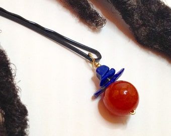 Fire Agate Lapis Stone Hair Pin Bead Jewelry Locs, Dreadlocks, Braids and Twists
