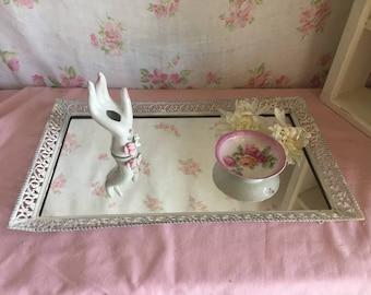 Vintage Ormolu Vanity Dresser Mirror - Painte white -  Jewelry Perfume holder - Dresser tray - Antique Ormolu Filigree