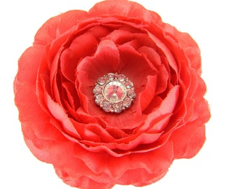 Red Rhinestone Dog Collar Flower, Collar Attachment: Ruffled Rani in Red