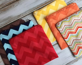 Two Tone Chevron (Optional Personalization) Reusable Sandwich or Snack Bags with Zipper Closure