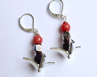 Orange Coral and Brown Jasper Beaded Origami Bird Earrings On Silver Leverbacks
