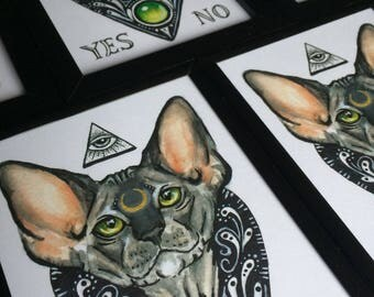 Mystic Kitty, sphynx cat, planchette print.