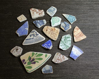 Potomac Pottery Porcelain Beach Shards Mixed Lot // Jewelry Supplies // China Shards // Wire Wrapping // Naturally Tumbled // Potomac River
