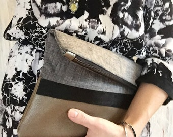 Leather and grey linen clutch, bag, leather bag, leather clutch