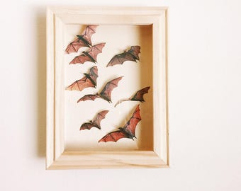 Brown bats on paper shadow box 5x7