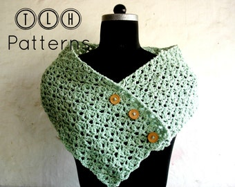 Crochet scarf pattern, crochet neckwarmer cowl pattern, cowl with button, Honeydew button up scarf, Pattern No. 32