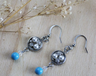 Turquoise earrings dangle, stainless steel turquoise and white earrings, white and blue round pearls earrings, surgical steel blue turquoise