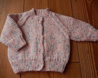 Hand knitted baby girl sparkling cardigan, hand knit baby sweater white mix newborn
