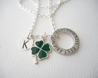 Four Leaf Clover, Best Friends -Initial Necklace/ Friend Necklace, best friend jewelry, friendship necklace, going away, personalized, big