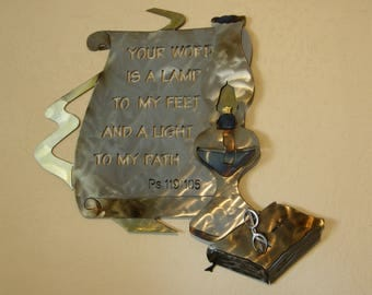 Christian Metal Wall Sculpture of Oil Lamp with Scripture from Psalm 119