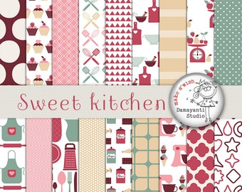 Kitchen Digital Paper, Kitchen Utensils Crockery Backgrounds, Retro Kitchen Papers, Kitchen Patterns, Printable Recipe, Planner Supplies