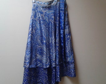Paisley wrap Indian skirt blue floral reversible s m