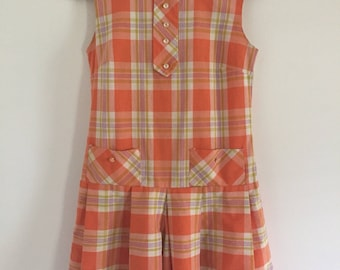 Vintage 60's Coral and Mustard Scooter Dress Play Suit S M