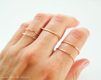 Stackable Ring, Double Band Ring, Midi Ring, Stacking Gold Ring, Gold Ring, Silver Ring, Rose Gold Ring, Band Ring, Stacked Gold Rings
