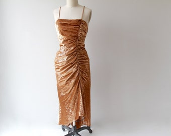 1970s Bronze Fishtail Gown / Vintage 70s Metallic Fitted Wiggle Dress / Small