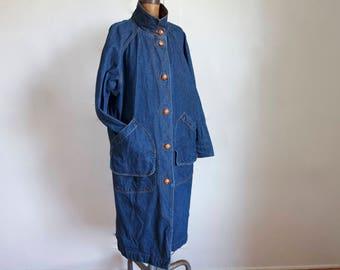 1980s Indigo Denim Trench Coat / Vintage 80s Dark Wash Long Jean Jacket / Medium / Large