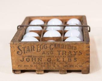 Dozen Hand Blown Chicken Eggs | Antique Eggs in Crate | Homestead Decor | Glass