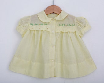 Vintage Baby Dress in Pastel Yellow with Flowers and Embroidery / 6 to 9 months / 1960s Dress / Vintage Baby Dress