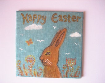 Hand painted EASTER HARE art canvas panel.