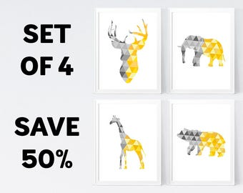 50% OFF, Yellow Grey Wall Art - Temporary Offer - Only 1 Unit Available - INSTANT DOWNLOAD