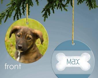 Blue Dog Bone Custom Photo Ornament