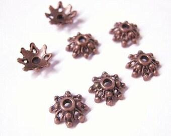 24pcs 8.5mm antique copper  flower bead caps-5699