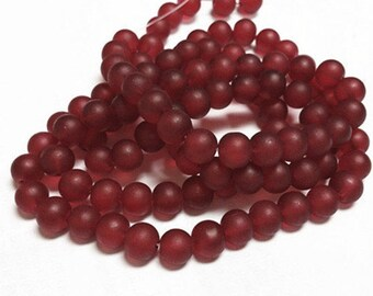 1 of 31 inch strand 8mm glass red frosted glass beads-over 100 beads-1353p