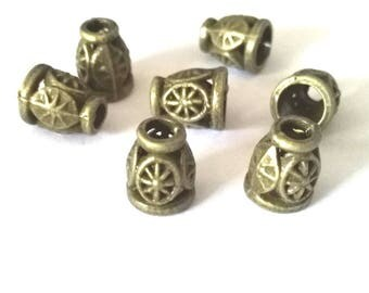 12pc 8mm antique bronze metal bead cap-off284