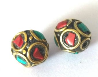 2 pieces 11mm Tibetan Brass Bead with Turquoise and Coral Inlay - OFF70
