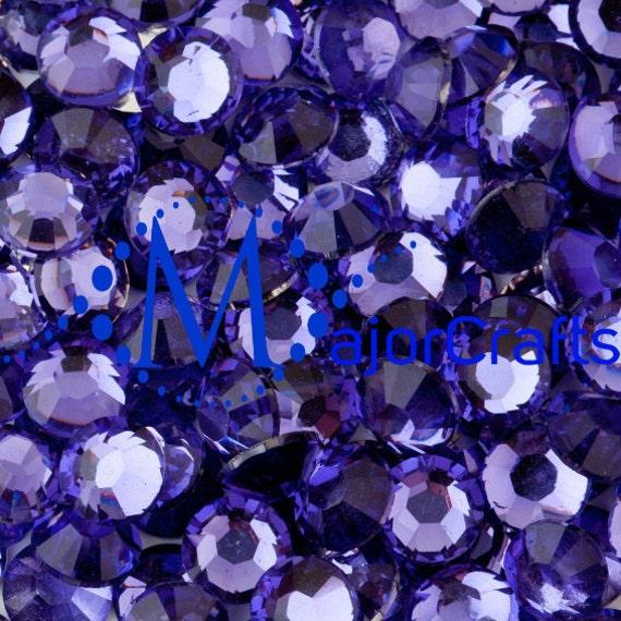 Light Purple Flat Back Round Resin Rhinestones Embellishment Gems C8