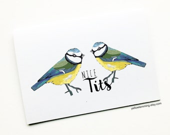 Nice Tits, Funny Anniversary Love Card, Valentines Card, Birthday Card for her, Blue Tits, Joke Card, Funny Relationship Card, Couples Card