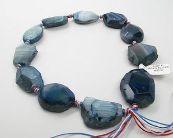 Ocean Blue Agate Slices; Large Gemstone Beads; Necklace Accent Beads; Blue Beads for Necklace; Chunky Blue Agate Beads; Chunky beads