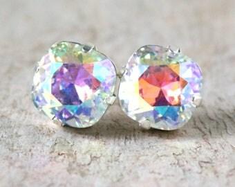 Glacier Blue   Swarovski   Crystal Earrings   Glacier Jewelry   Square Cushion   Gift For Her   Bridal Jewelry   Wedding Jewelry   Ice