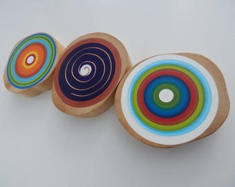 Wood & Cooper Tree Rings Wall Decor made from reclaimed wood - Set of 3 (TRWD3C)