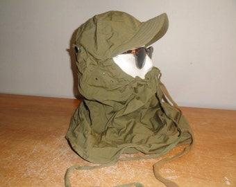 Men's Vintage Olive Green WWII WW2 U.S Army Military M1941 Hood Cloth Dated 1942 Size-Large