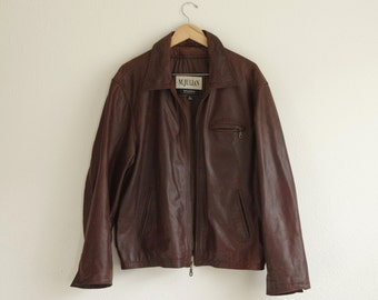 M.Julian Wilsons The Leather Experts Brown Leather Jacket Size Large | RN 69426
