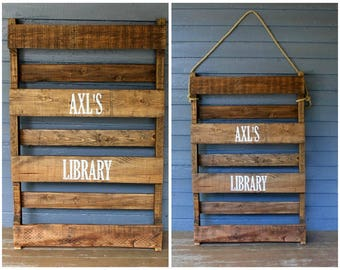 Wooden Bookshelf, Rustic Wood Shelves, Solid Wood Bookcase, Book Shelf, Children's Bookcase, Reclaimed Wood, Pallet Shelf, Kids Bookshelf