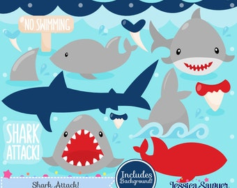 INSTANT DOWNLOAD, shark clipart and vectors for personal and commercial use