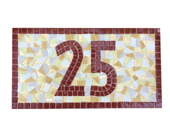 Mosaic Outdoor House Number Sign // Maroon, Gray, Golden Yellow