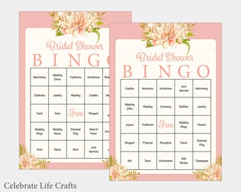100 Bridal Bingo Cards - Floral Bridal Shower Bingo Game - prefilled wedding words - Instant Download - Pink Bridal Shower Games BR1002