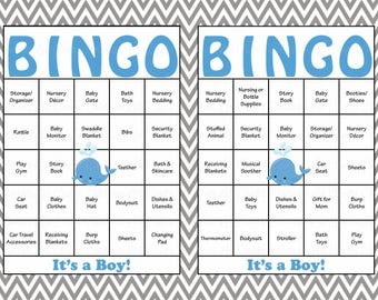 100 Whale Baby Shower Bingo Cards   Prefilled Bingo Cards   Boy Nautical Baby  Shower Game