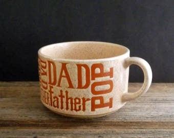 Vintage Ceramic Pottery Mug, Glazed Pottery Mug,  Dad Father Pop Mug, Vintage Retro Gold Mug, 1960s  1970s, Made In Japan