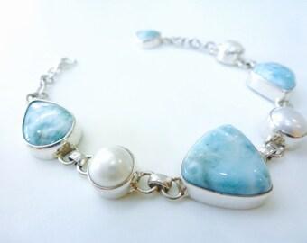 Larimar And Pearl Bracelet Larimar Pearl Sterling Silver Link Bracelet