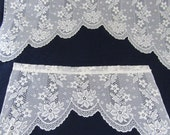 SALE Ten Vintage Ivory Polyester Lace Valances  (10) Five Large & Five Medium