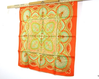 BEAUTIFUL Vintage Liberty of London Orange and Green Paisley Silk Scarf  NOS