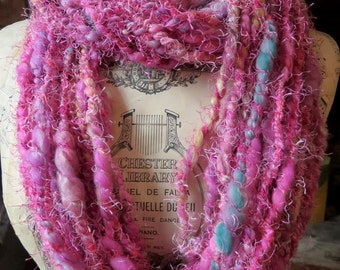 Handspun Art Yarn, Coily Ply, Spiral Ply, Wool, Merino, Pink Pussycat