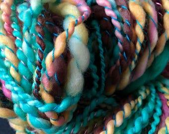Handspun Yarn, Art Yarn, Bulky, Thick and Thin, 2 Ply, Coil Ply, Superwash, Merino, Wool, Macaron