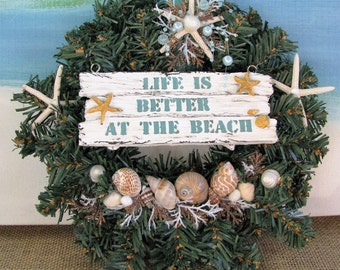 Seashell Christmas Wreath~Starfish Christmas Wreath~Life is Better at the Beach Christmas Wreath~Coastal Beach Christmas Wreath