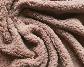 Brown Luxury Sherpa Fleece Fabric - Soft, Cuddly Texture -  Great for blankets and bedding - By the Metre- UK Seller