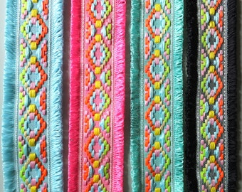 "Neon Multicoloured Double Edge Loop Fringe Fashion Trim 45mm wide 1 3/4"" Jacquard Weave - by the Metre - UK SELLER"